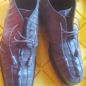 Mauri gray 3/4  alligator shoes tie up
